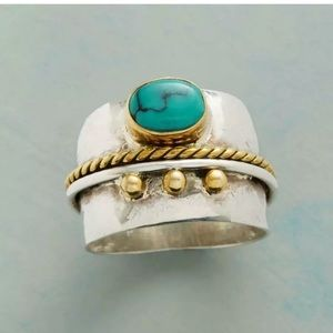 HANDMADE 925 SILVER TURQUOISE RING SIZE 7